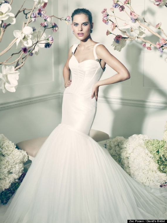 Zac posen unveils wedding dress line for david 39 s bridal for Zac posen wedding dress price