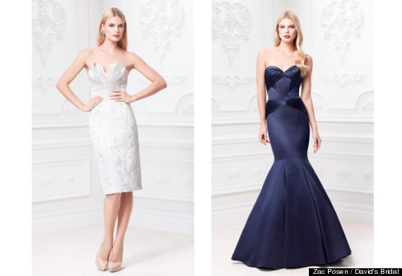 Zac posen unveils wedding dress line for david 39 s bridal for Zac posen short wedding dress
