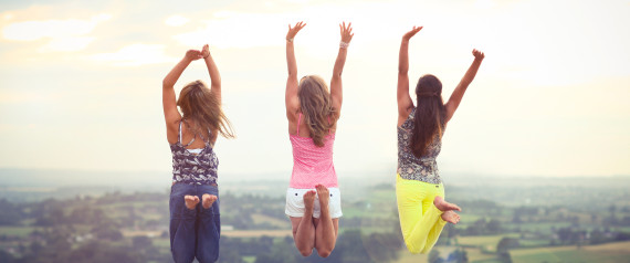 Friends jumping in the air - how to banish results day nerves