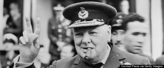 winston churchill peace sign