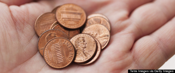 hands with pennies