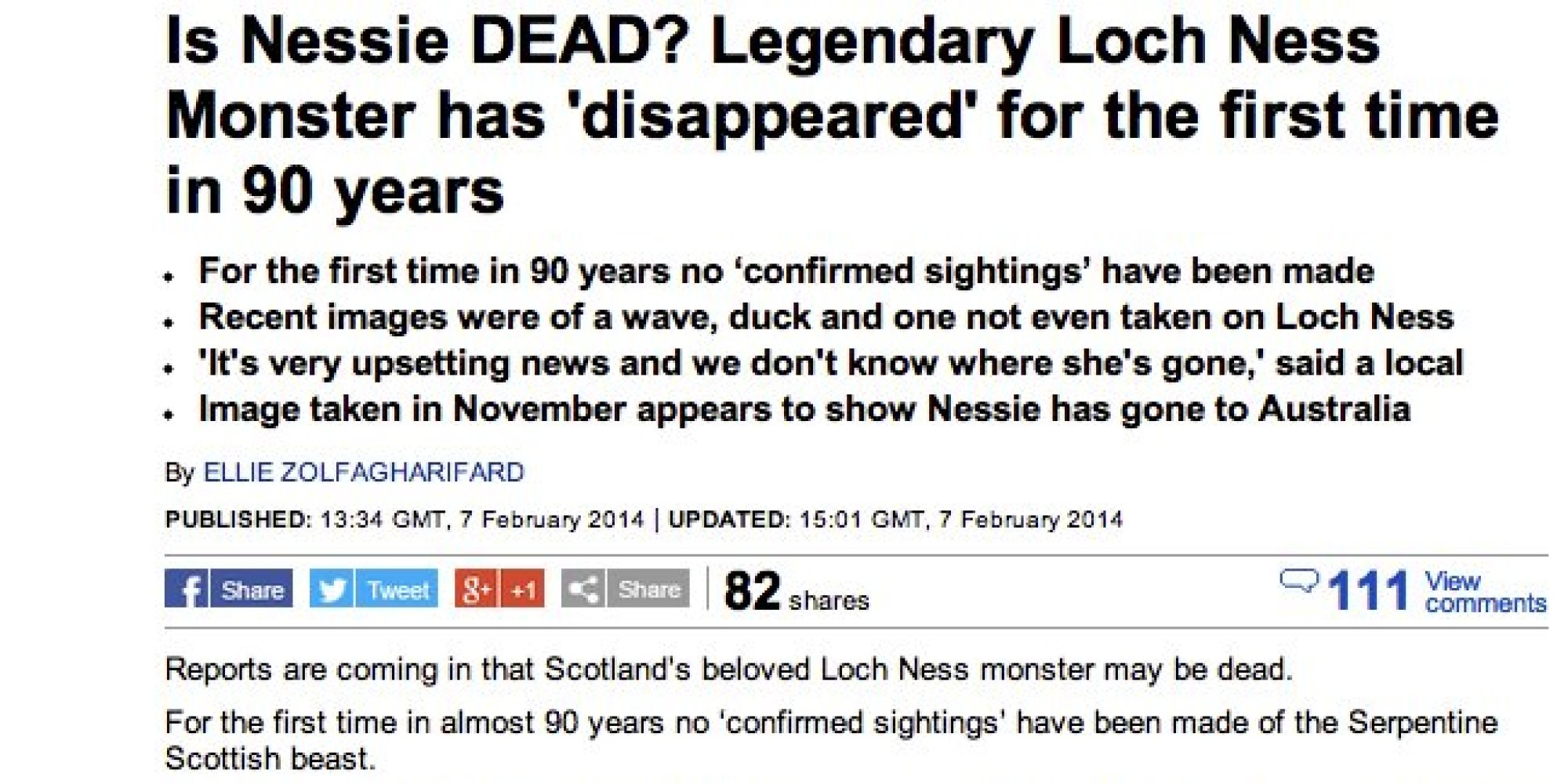 Loch Ness Monster Sightings 2014 Is the loch ness monster dead?
