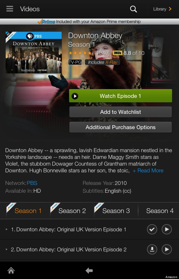amazon prime instant video kindle