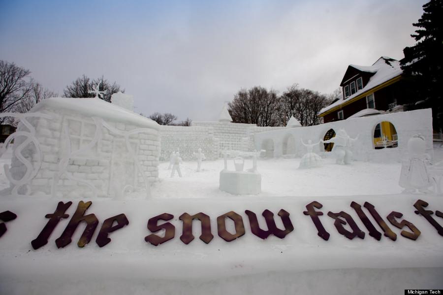 michigan tech snow sculptures