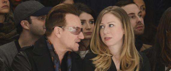 Chelsea Clinton Bono Chat Front Row At Edun S Fall Runway
