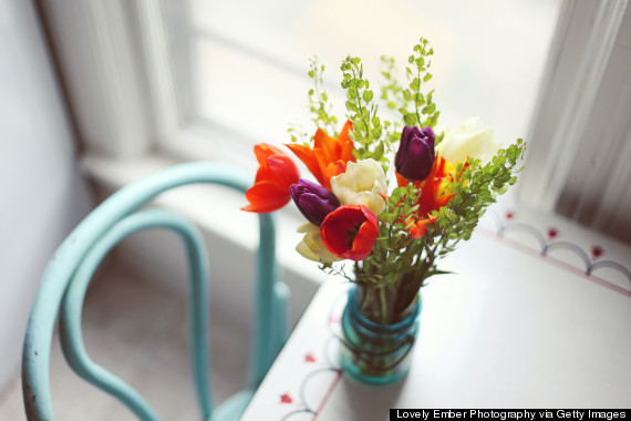 flowers on kitchen table