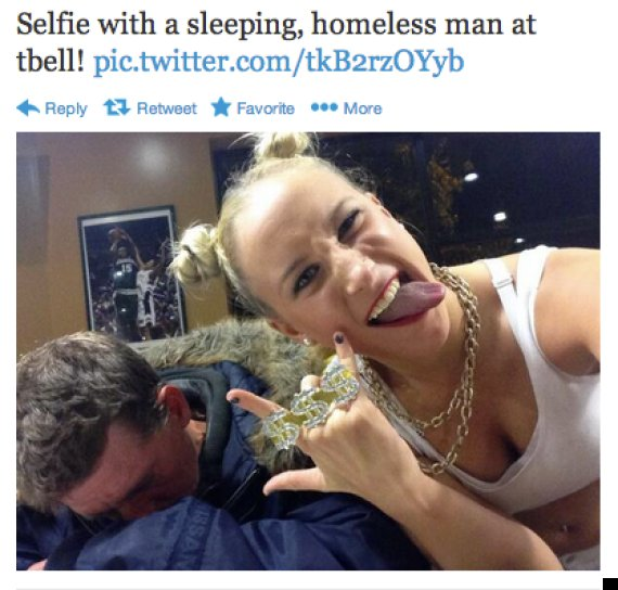 selfies with homeless people