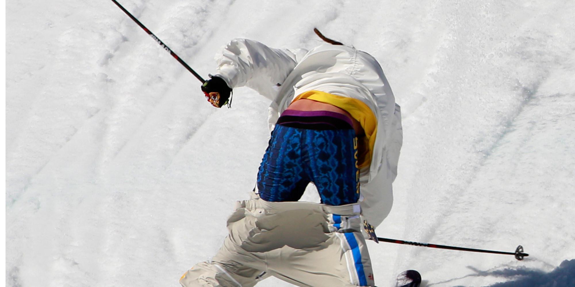 Sochi 2014 Freestyler Henrik Harlaut S Ski Pants Fall