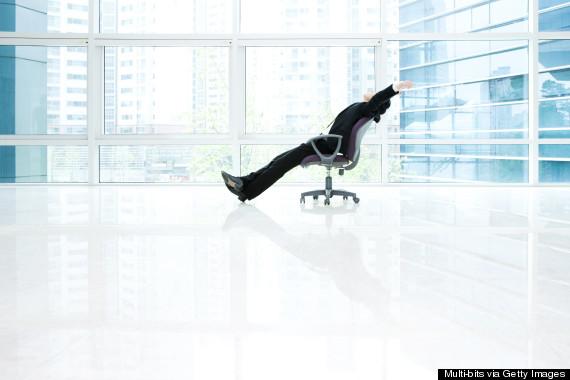 relaxing in office