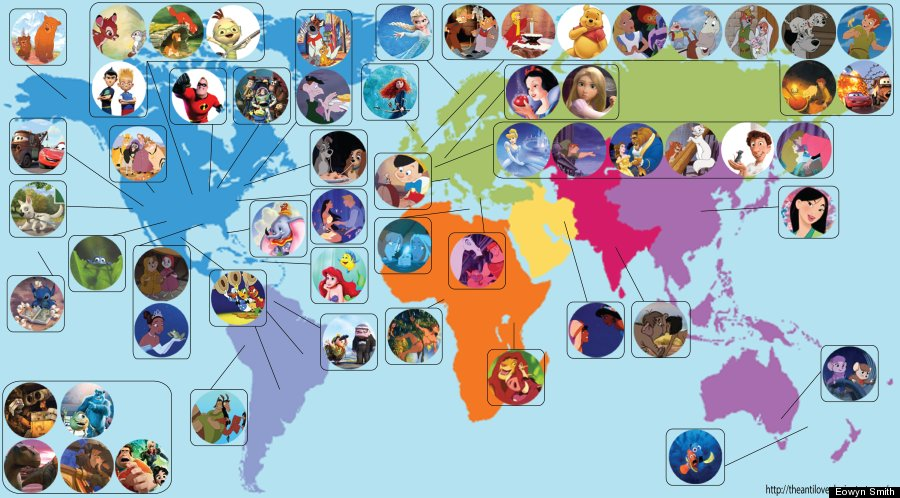 A Map Where All The Disney Movies Are Made