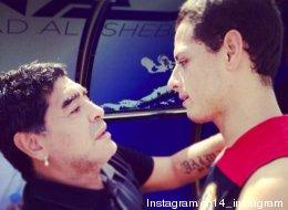 Se encuentran 'Chicharito' y Diego (FOTO)