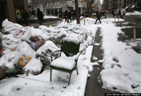 new york city garbage snow