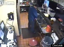 WATCH: What A Relief! Pizza Hut Worker Caught On CCTV Peeing In Kitchen Sink