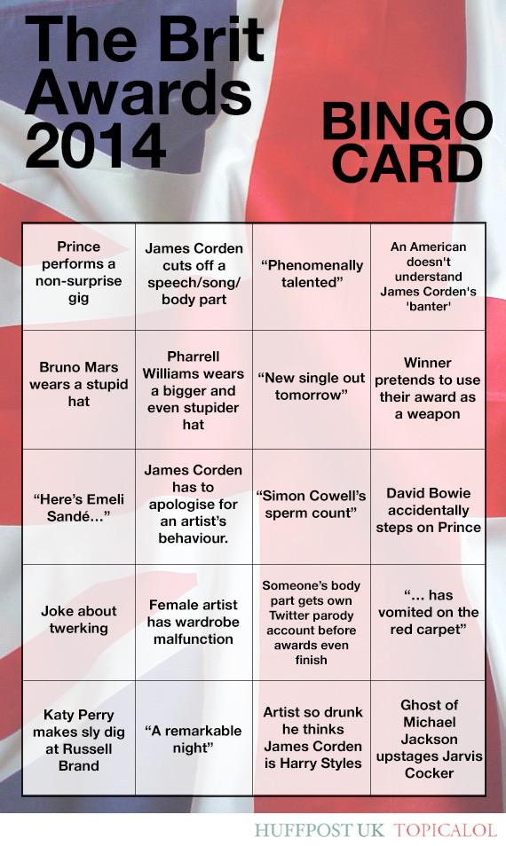 brit awards 2014 bingo