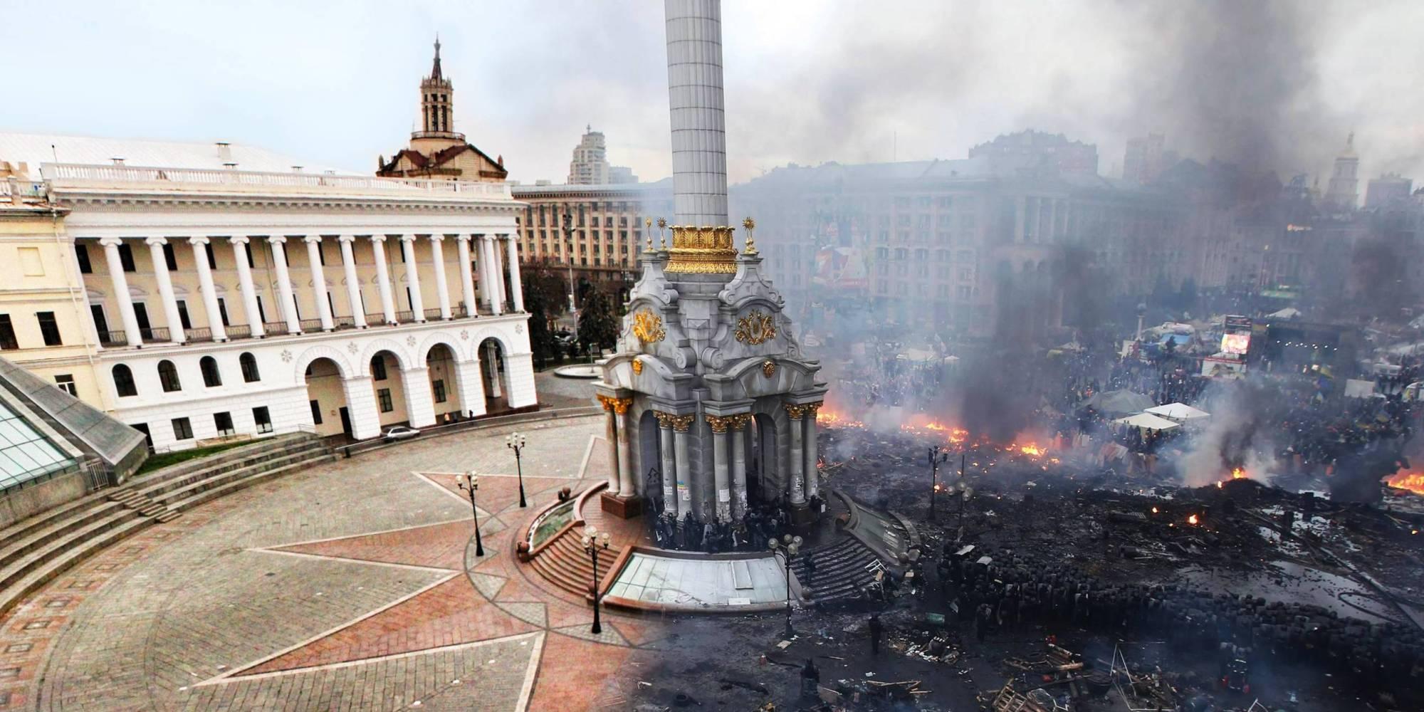 photo  violences en ukraine   un avant  apr u00e8s frappant du ma u00efdan  u00e0 kiev
