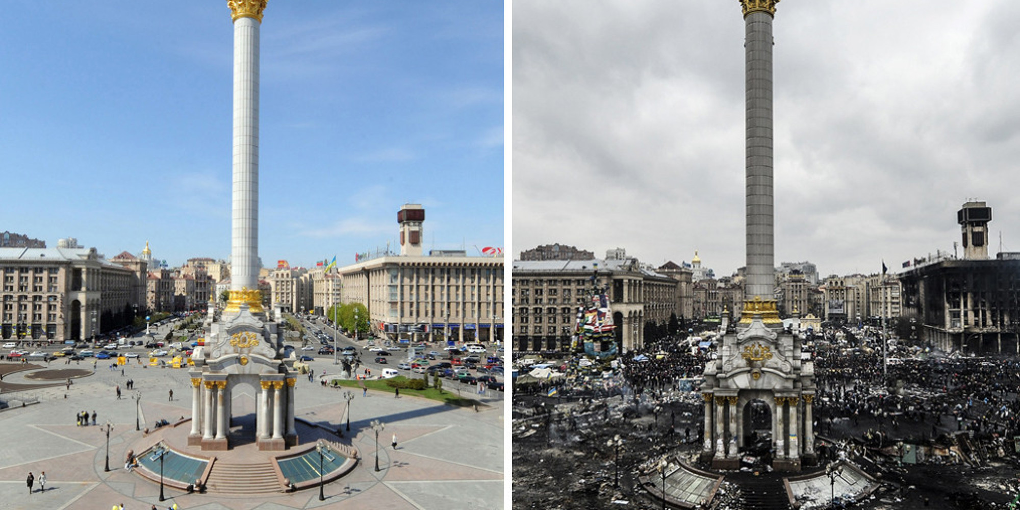 Incredible Before And After Pictures Of Kiev's Devastated Independence Square