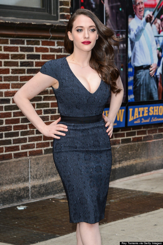 Kat Dennings Wows In Plunging Dress At The Late Show With