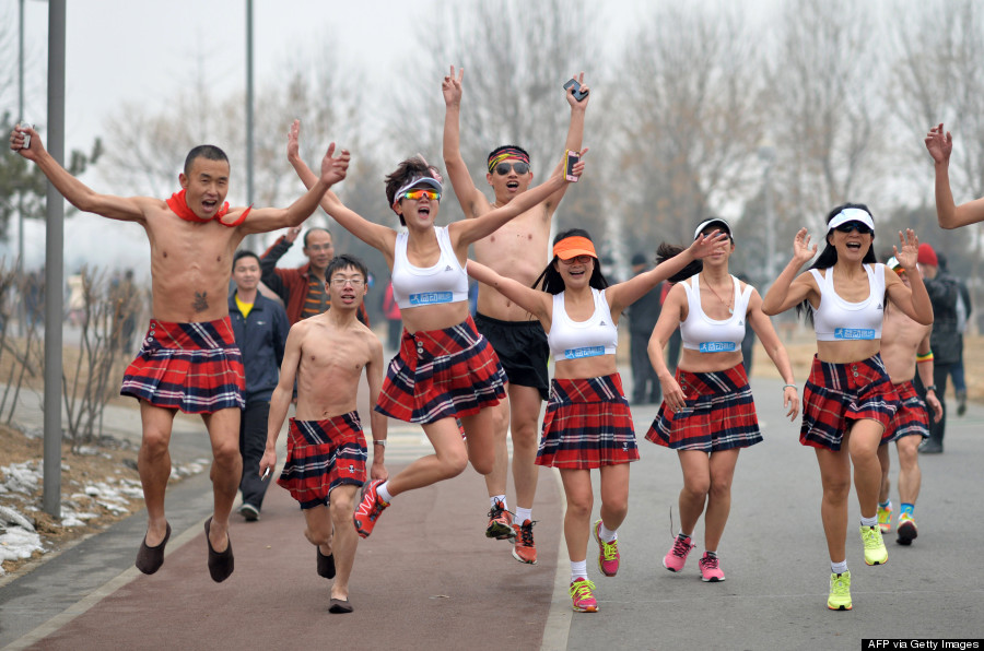Participants compete during the annual Naked Run at the