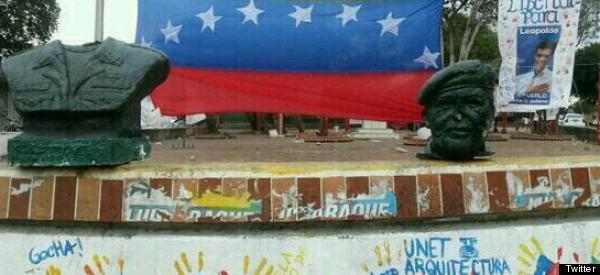 Hugo Chavez Statue Decapitated As Protests Continue
