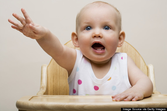 baby crying high chair