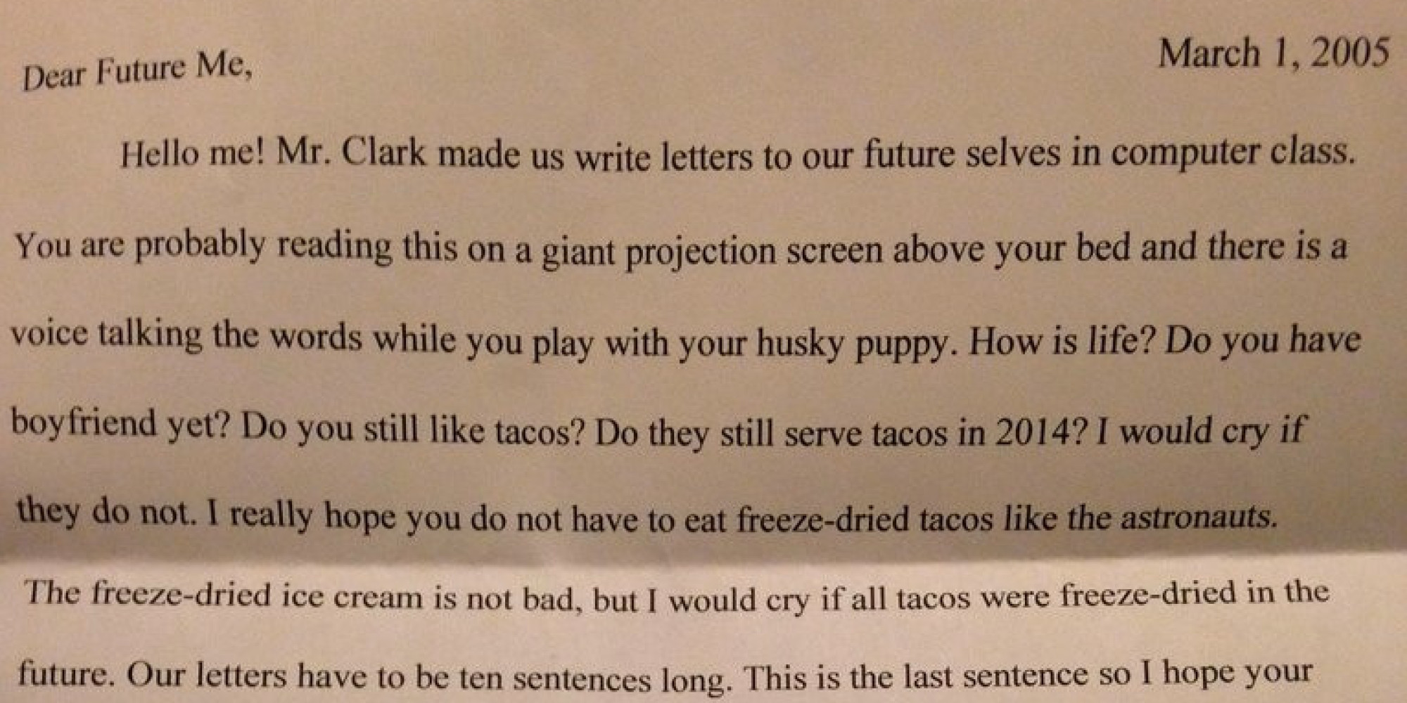 fifth graders letter to her future self proves the eternal relevance of tacos huffpost