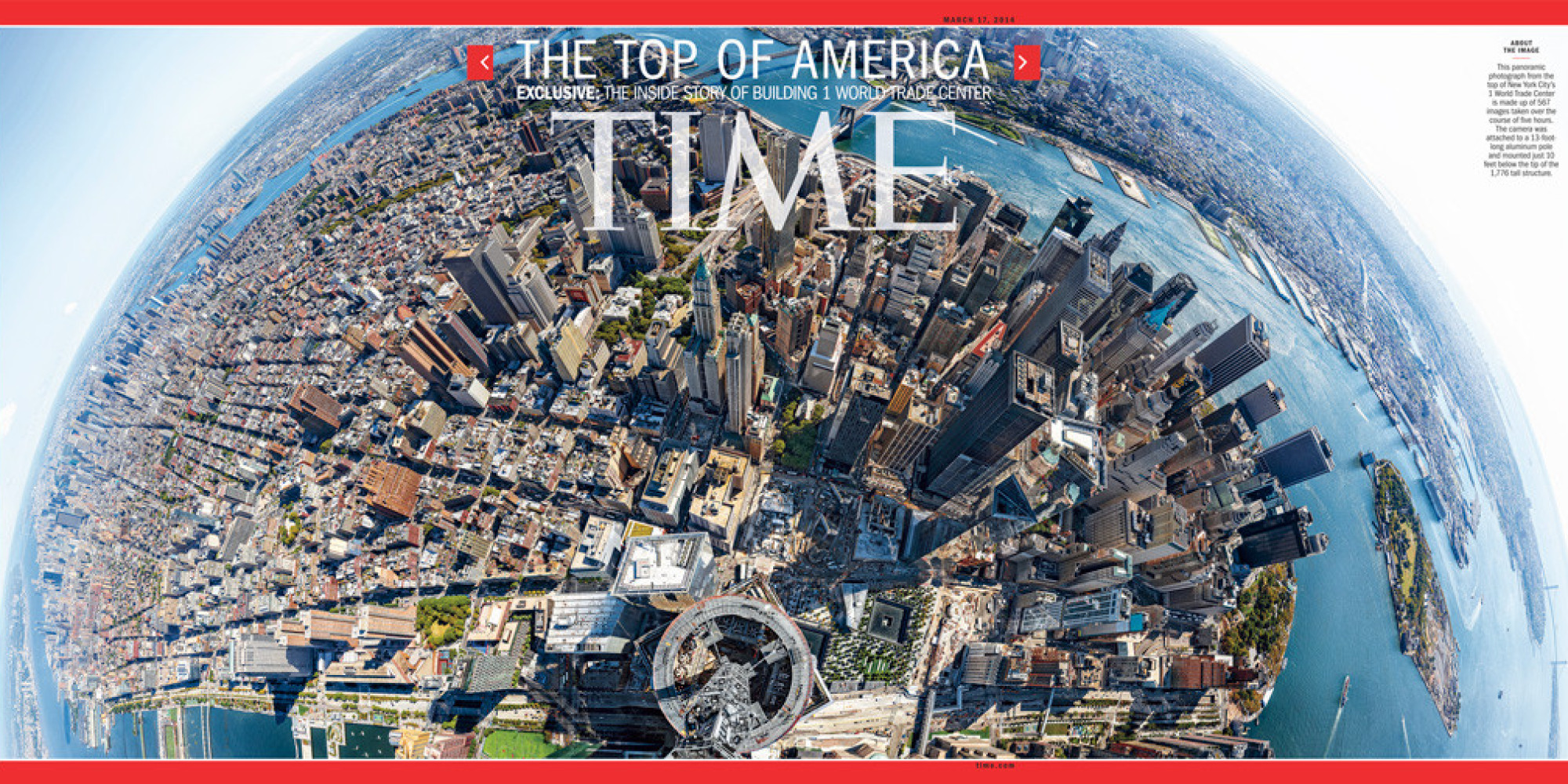 Time magazine cover shows breathtaking view from top of 1 for Pool trade show new york