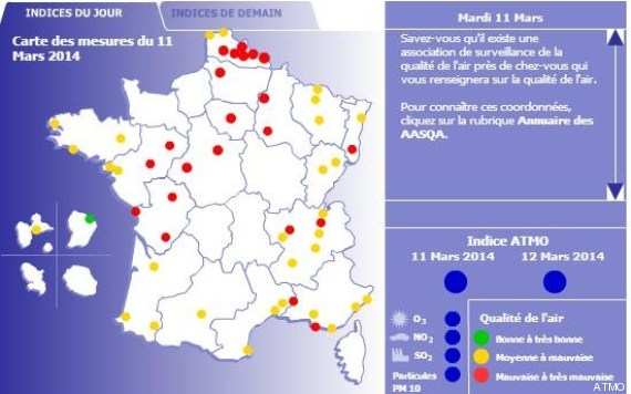 carte indice pollution