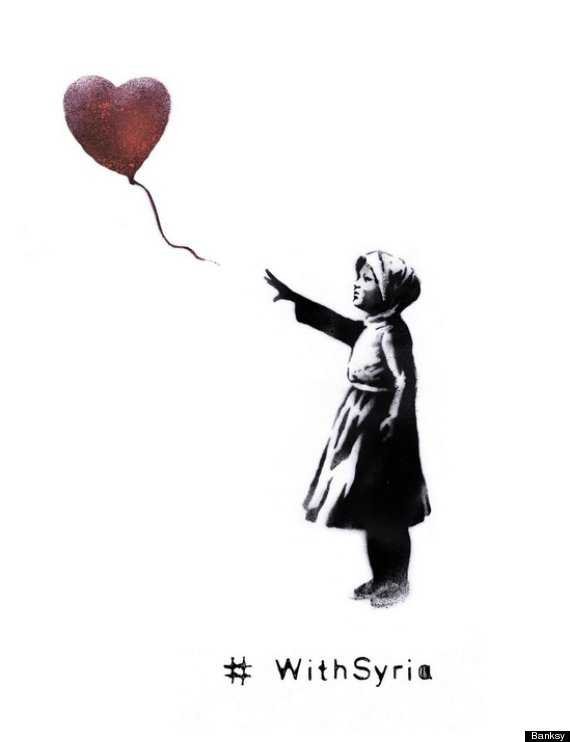 banksy withsyria girl with balloon