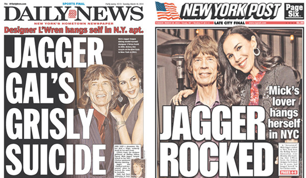 Newspaper Front Pages Cover L'Wren Scott's Suicide All