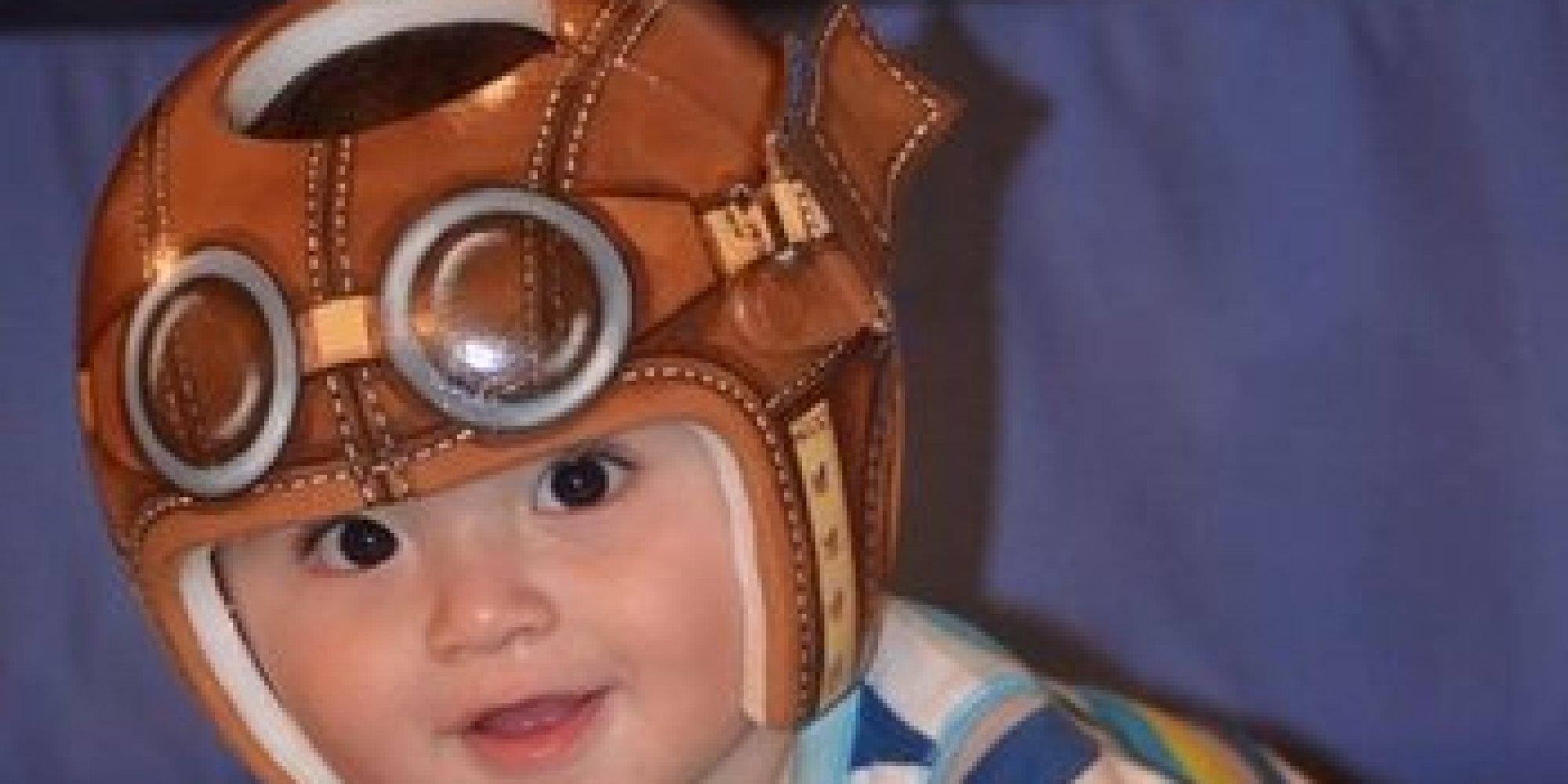 Artist turns babies 39 head shaping helmets into impressive for Baby cranial helmet decoration