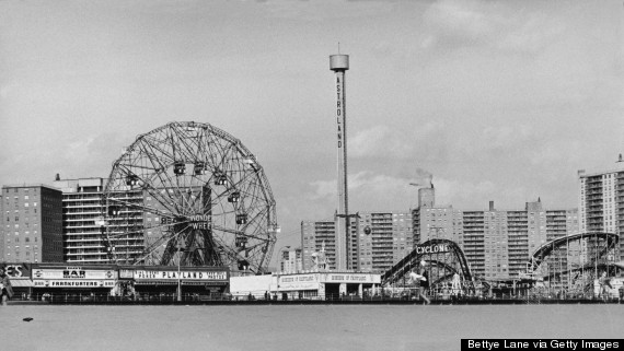 coney island cyclone black and white