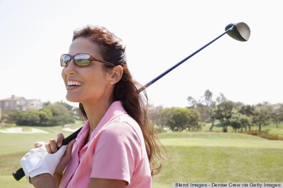 woman golf clubs