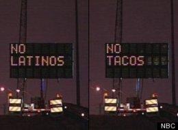 No latinos no tacos hacked road sign