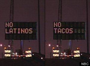 No Latinos No Tacos Hacked Road Sign