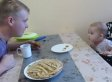 Dad And Baby Have An Intense Debate About Dropped Pancakes