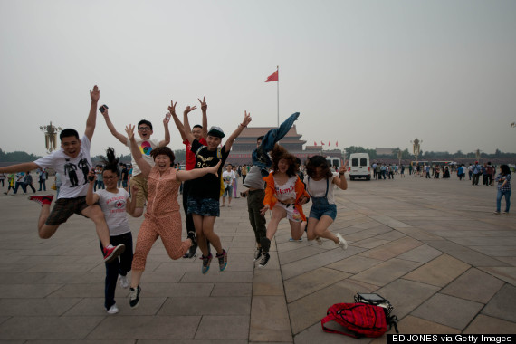 tourists jumping