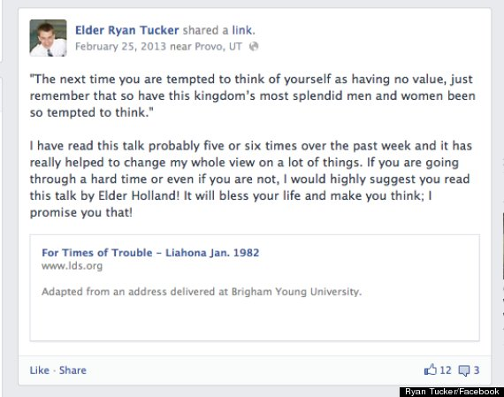 One of Ryan Tucker's Facebook status updates, posted during his mission.