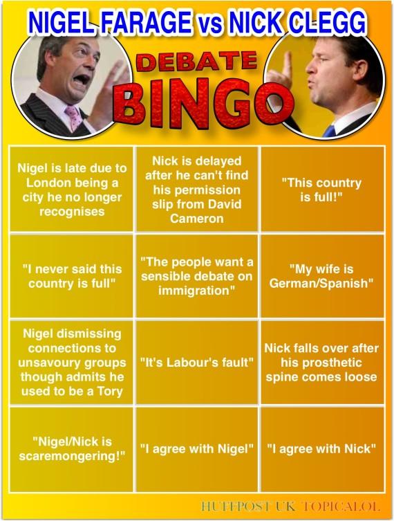 clegg farage debate bingo