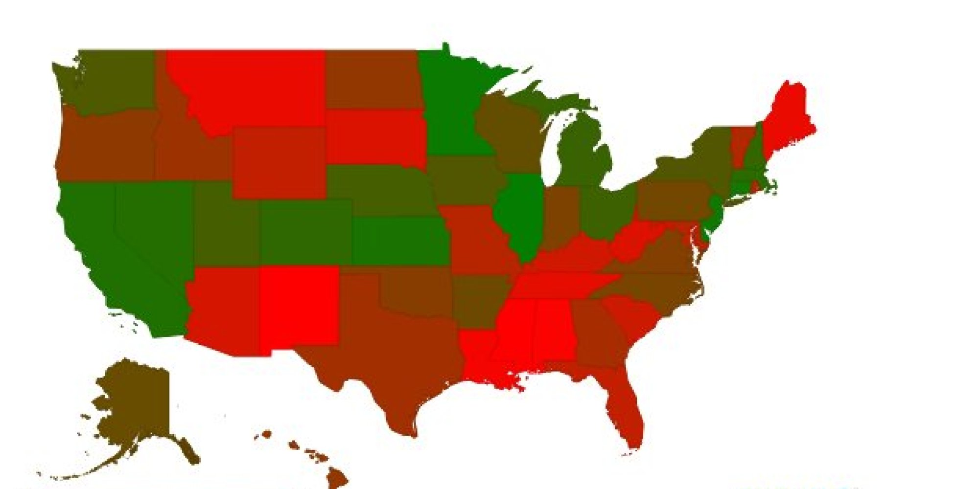 GOP States Are The Most Dependent On Government HuffPost - Us map democrat republican states 2014