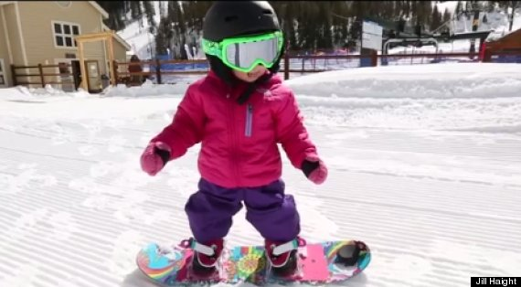 This 18 Month Old Snowboarder Is Tearin It Up On The