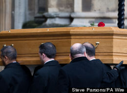Tony Benn's Coffin Arrives At The Palace Of Westminster