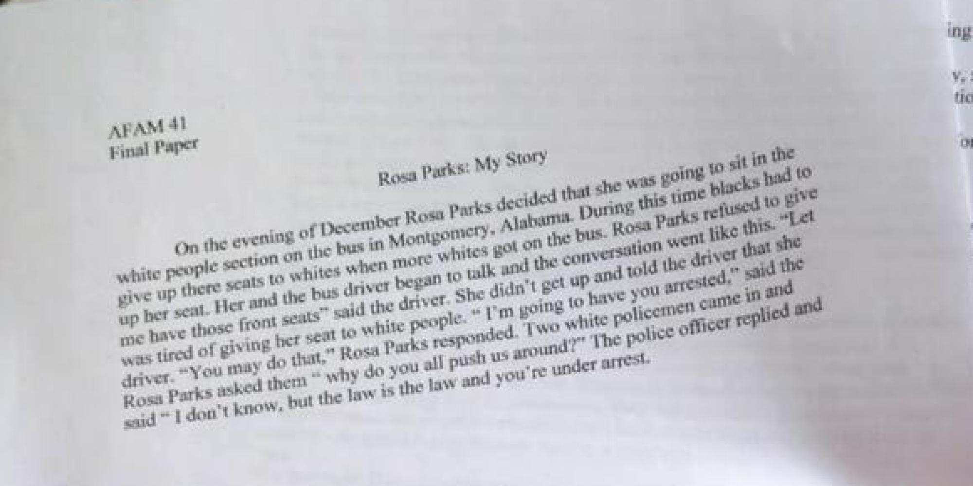 rosa parks short essay Early years rosa parks was born rosa louise mccauley in tuskegee, alabama, on february 4, 1913 her parents were james and leona mccauley she was mainly of.