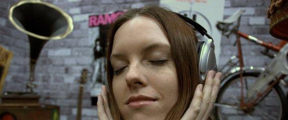 listening music headphones
