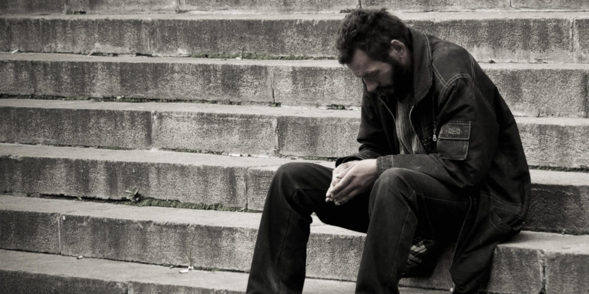 homeless sad poor