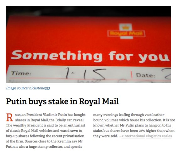 putin royal mail april fool