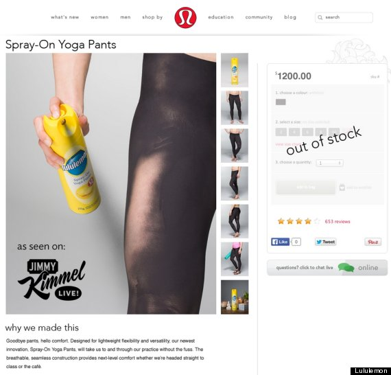 Lululemon Bares It All With  Spray-On  Yoga Pants Prank  f73f92e424d