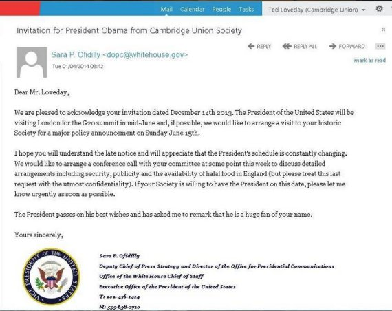 obama cambridge union april fool