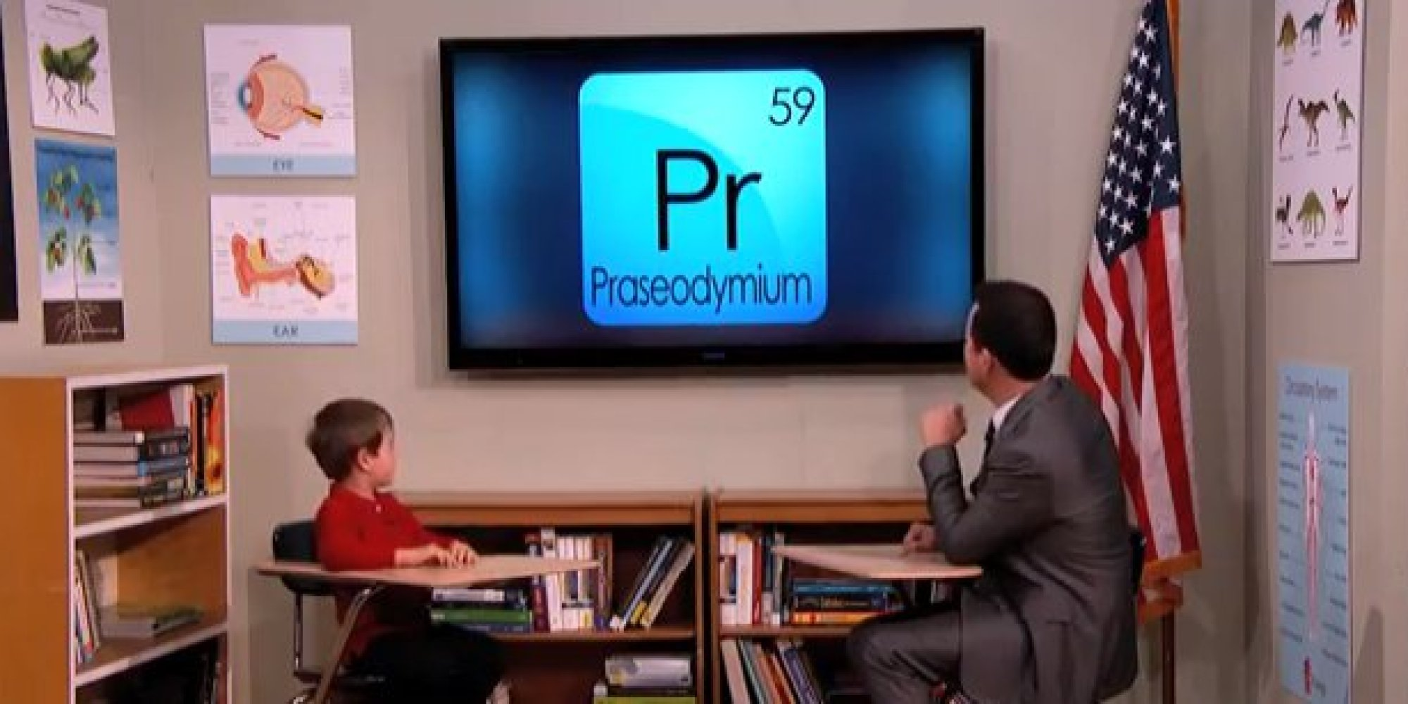 Arden hayes 6 year old genius tells jimmy kimmel about for Periodic table 6 year old