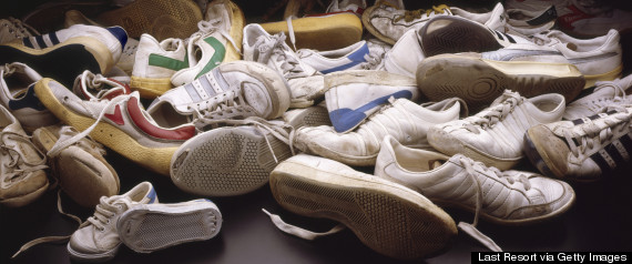 old sneakers pile