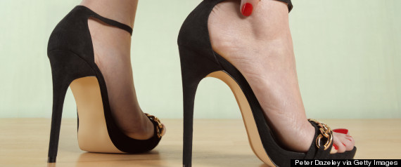 stiletto on foot close up